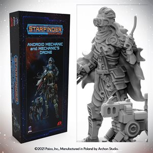 Starfinder Unpainted Miniatures: Android Mechanic (with Mechanic's Drone) ^ APR 2021