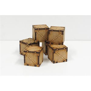 Small Wooden Containers (6) (Unpainted / Unassembled)