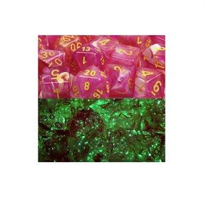 Lab Dice Leaf: 7pc Limited Edition Fuschia / Yellow