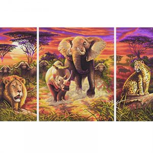 Paint by Numbers: Africa Big Five (Tryptych)