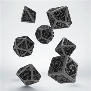 Celtic 3D Dice Grey & Black 7 Pc