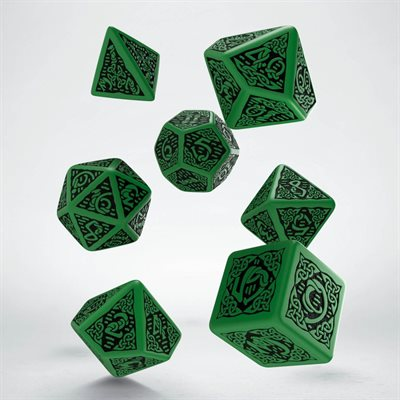 Celtic 3D Dice Green & Black 7 Pc