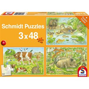 Puzzle: Child 3x48 Animal family