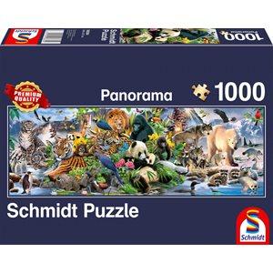 Puzzle: 1000 Colorful Animal Kingdom, Panorama