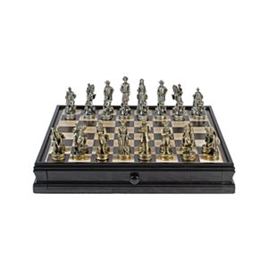 """Pewter Chess Wood Checkers 15"""" Set"""