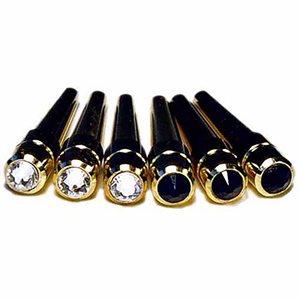 Cribbage Pegs: Swarovski Crystal 3 x 2 Colour - Black & Clear (Brass)